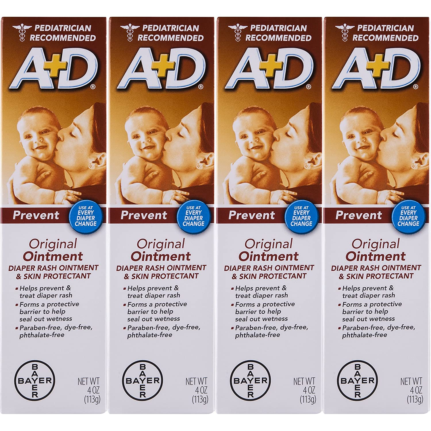 A& D Original Diaper Ointment, 4 Ounce (Pack of 4) Bayer - Berocca 80015