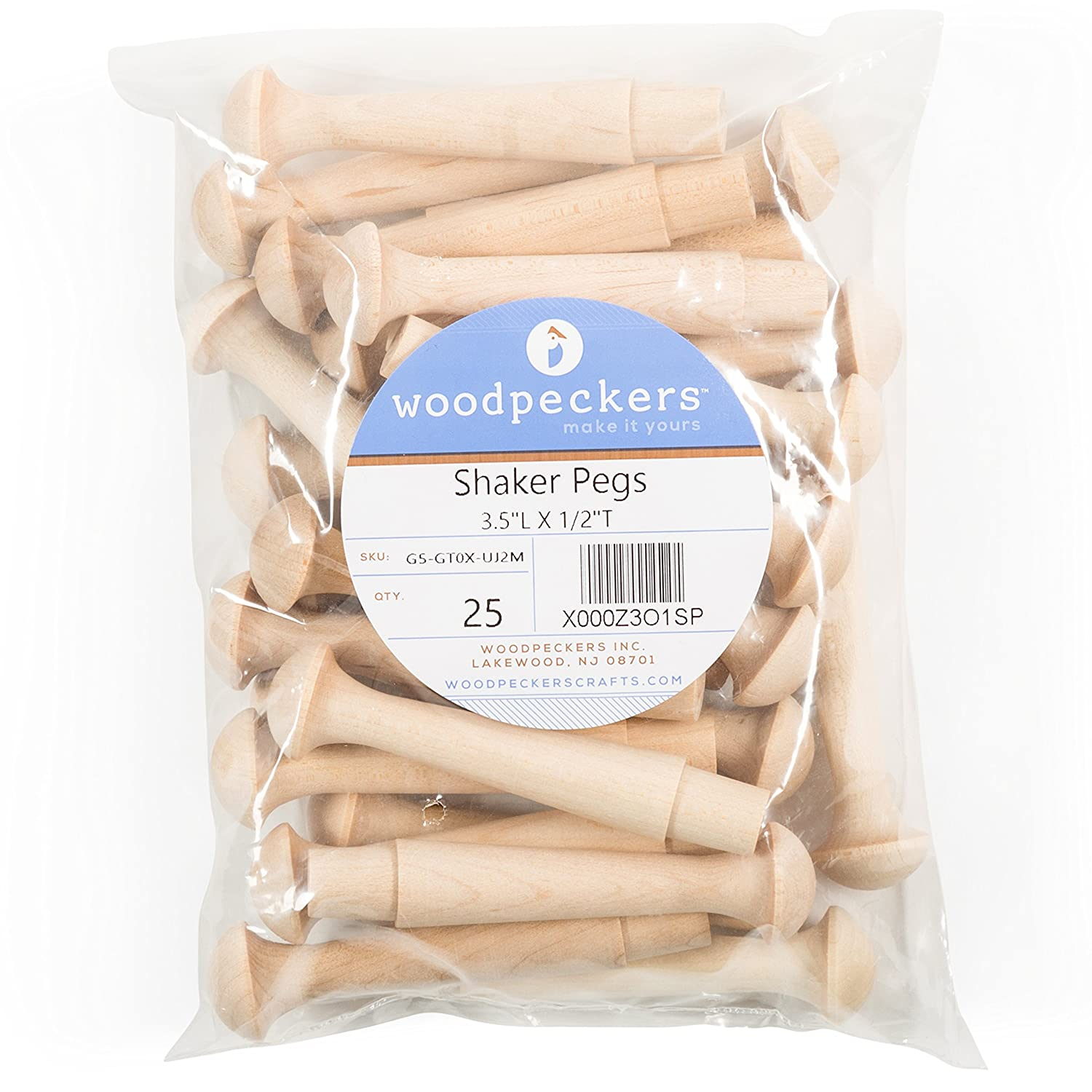 """Package of 10 Wood works product hard Birch 1-3//4/"""" furniture Mini Shaker Pegs"""