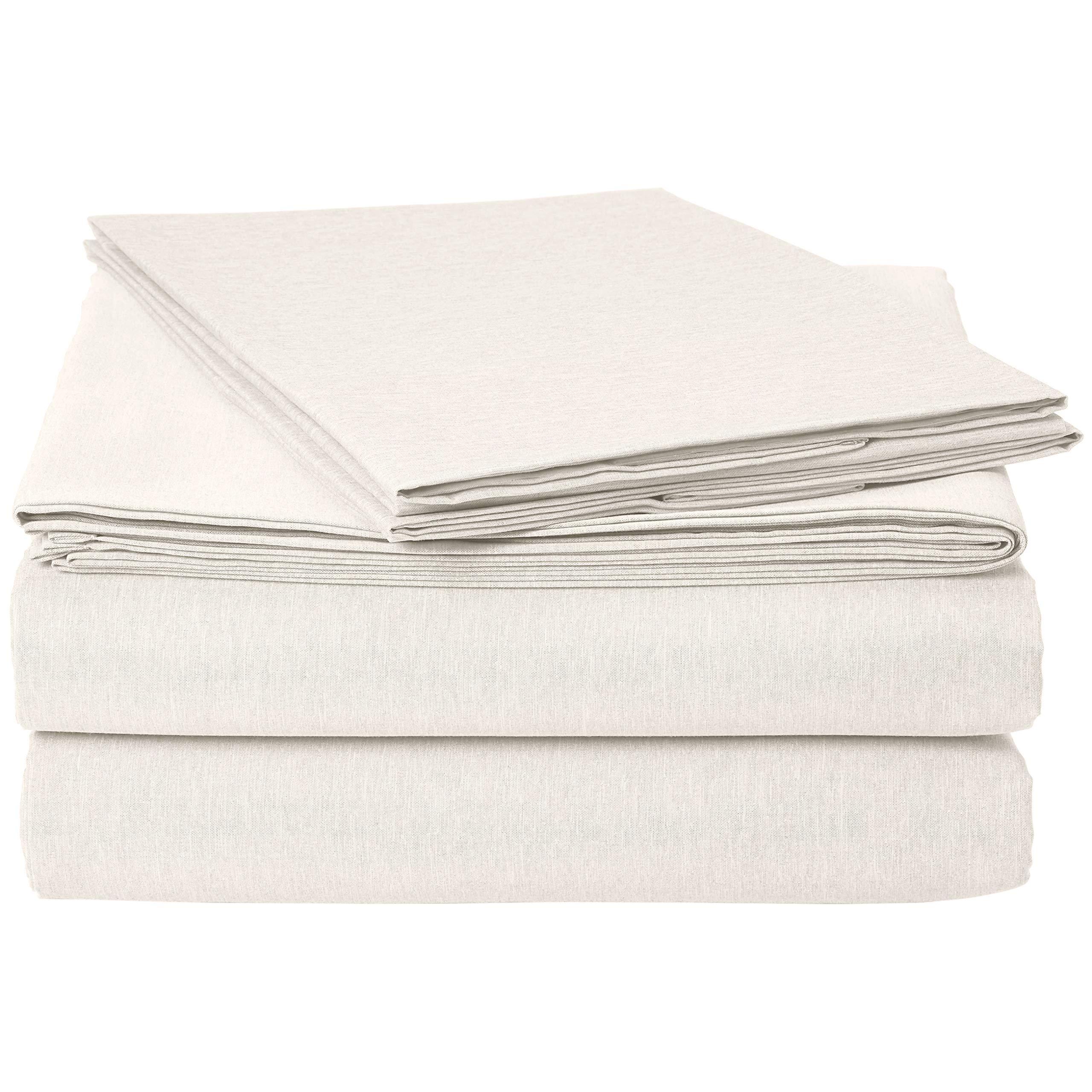 AmazonBasics Chambray Sheet Set - Queen, Soft Grey