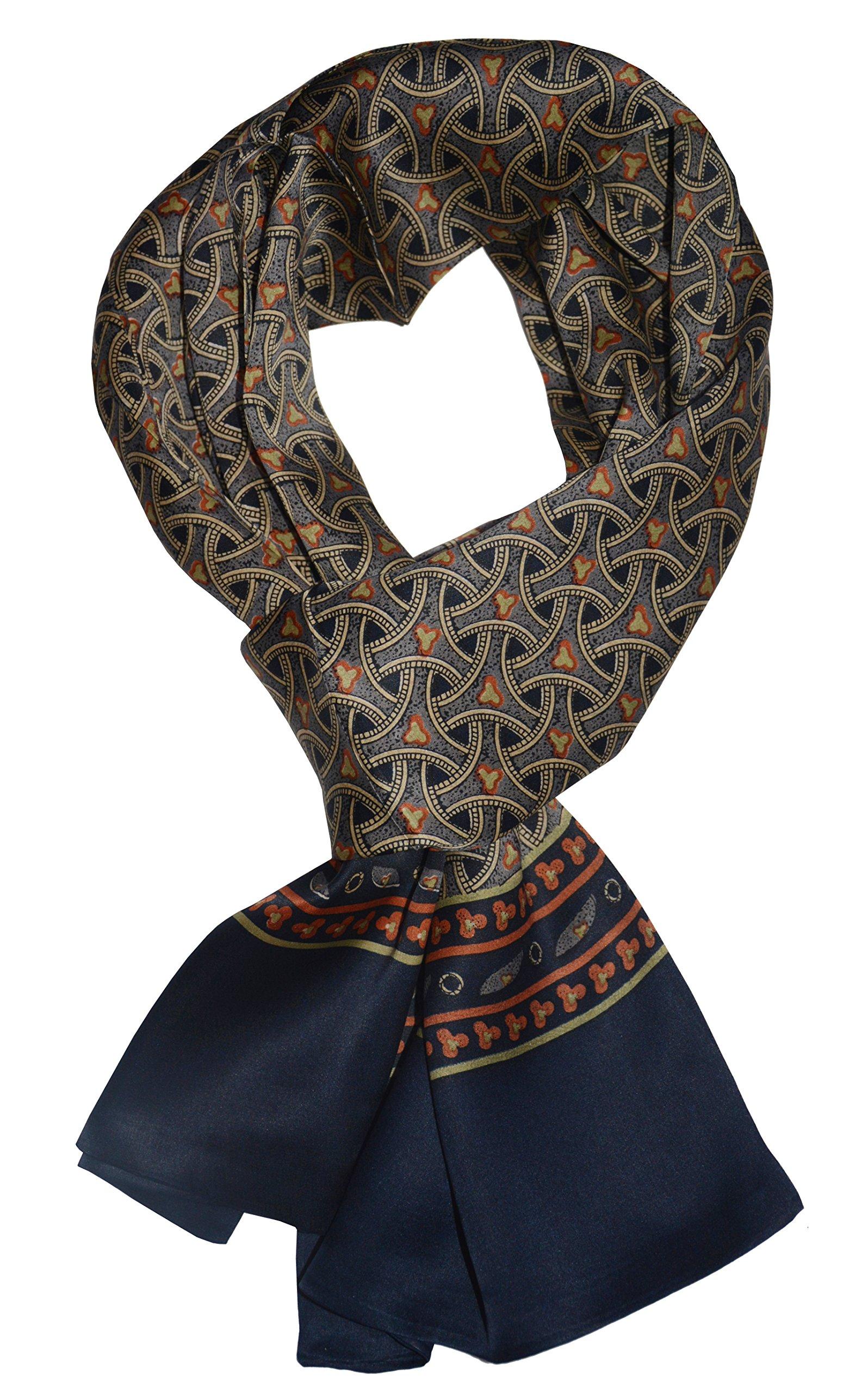 Ellettee, 63'' x 11'' Man's 100 Pure silk scarf wrap Accessory gift (Chevron Navy)