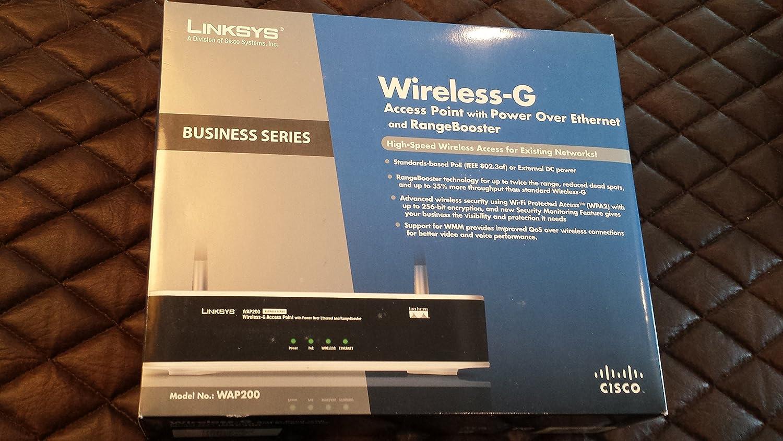 Cisco WAP200 WiFi Ethernet Negro, Plata - Router (Corriente alterna, PoE, 0-40 °C, 20-70 °C, 10-85%, 5-90%, 802.11g, 802.11b)