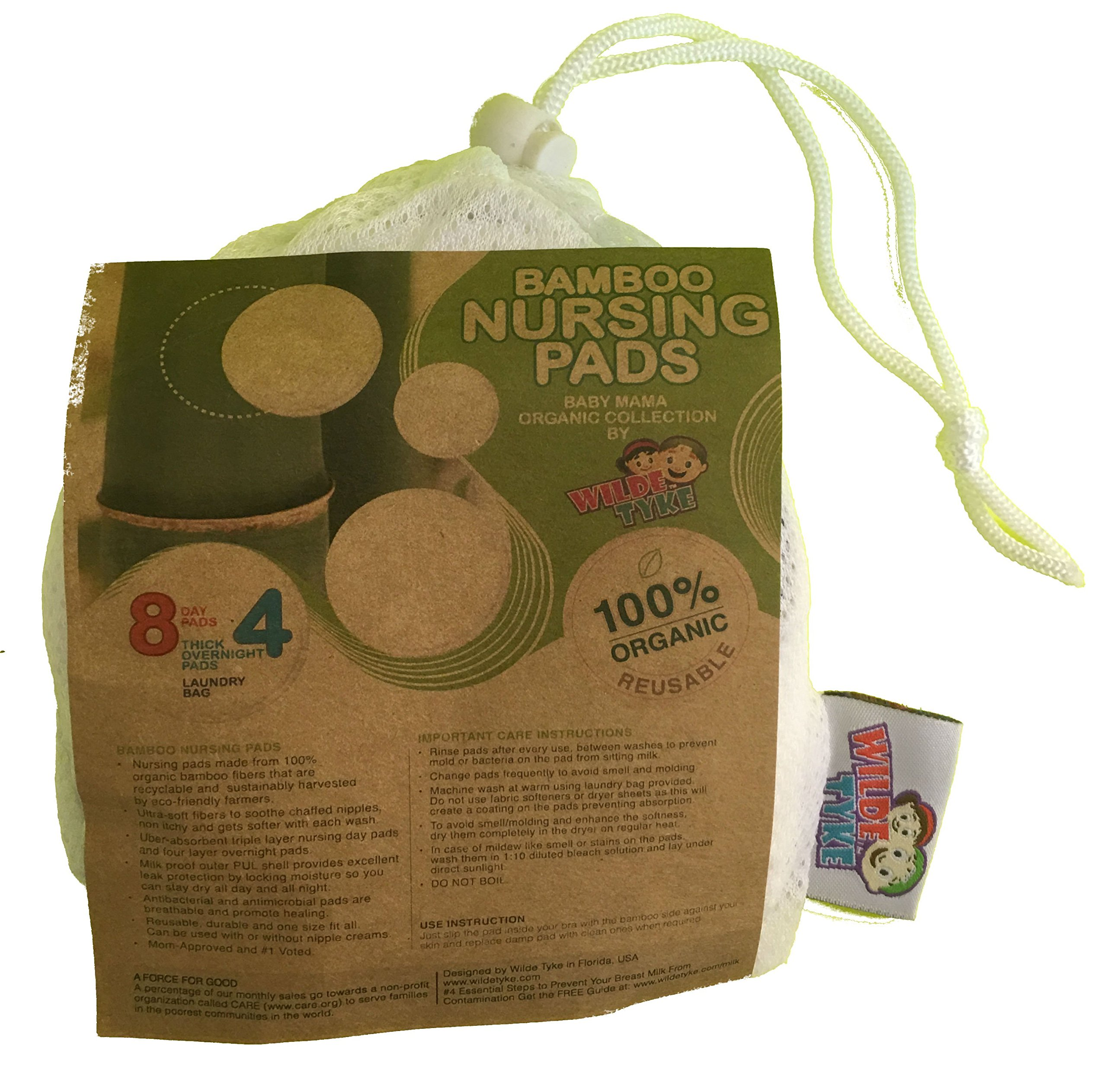 100% Organic Bamboo Nursing Pads by Wilde Tyke (8 Day Pads + 4 Thick Overnight) with Laundry Bag. Washable Ultra-Soft Antibacterial Breastfeeding Pads with Waterproof Layer. Mom-Approved, 1 Voted!