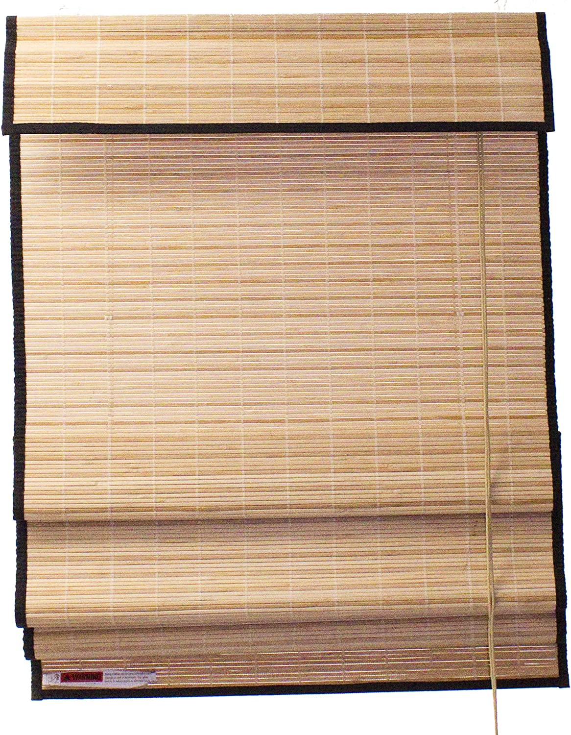 Seta Direct, Natural Bamboo Slat Roman Shade with Valance 72-Inch Width by 84-Inch Length (Black)