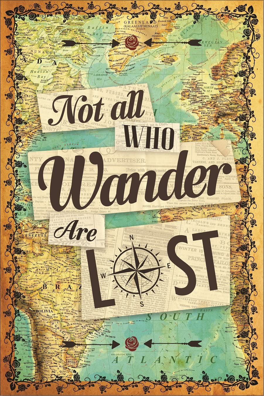 Not All Who Wander Are Lost Wall Poster - Sized 12 x 18 inches - Beautiful Wanderlust Art Print Decor For Travelers
