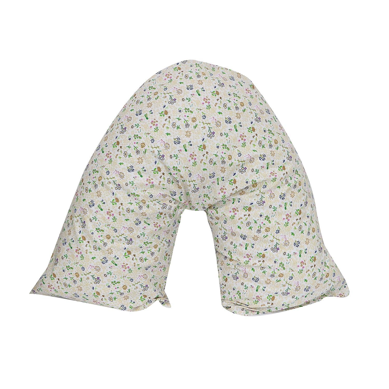 Textile Online V Shaped Pillow Case & Pillow Poly Cotton Orthopedic Pregnancy Nursing Back Neck (Case with pillow , Blue flower)