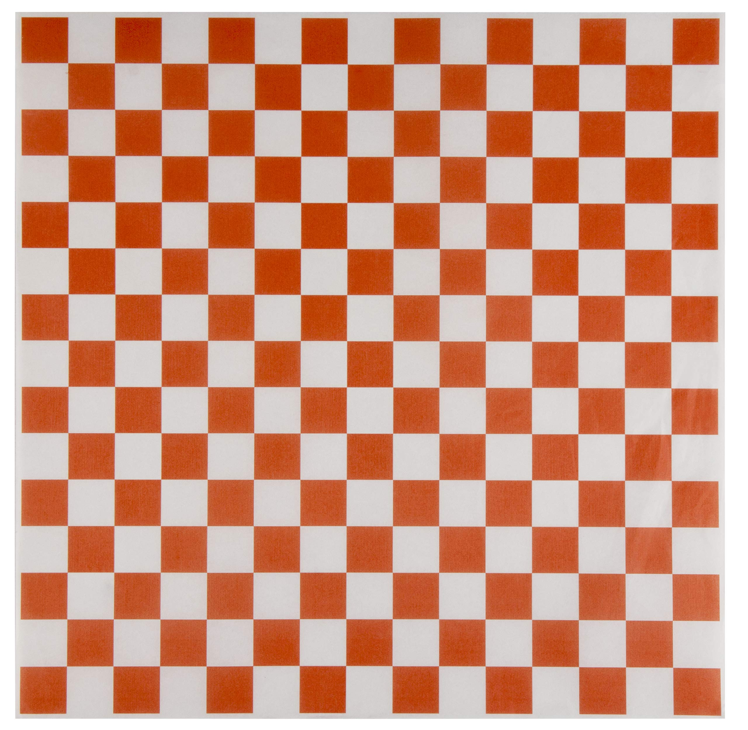 Deli Paper Basket Liner - 500-Pack 12-Inch Orange and White Checkered Sandwich Wrap Sheets, Grease-Proof Food Wrapping Square Liners, For Fast Food Service, Picnics, Barbecue Party Supplies