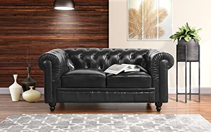 Divano Roma Classic Scroll Arm Real Leather Match Chesterfield Love Seat (Black)
