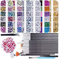 Duufin 6 Boxes Nail Art Rhinestones Bling Nail Crystal Jewelry 15 Pcs Nail Painting Brushes 5 Pcs Dotting Pen 1 Pc Double-ended Pen a Tweezers and 1 Pack Mini Rhinestones for Nail Art Design