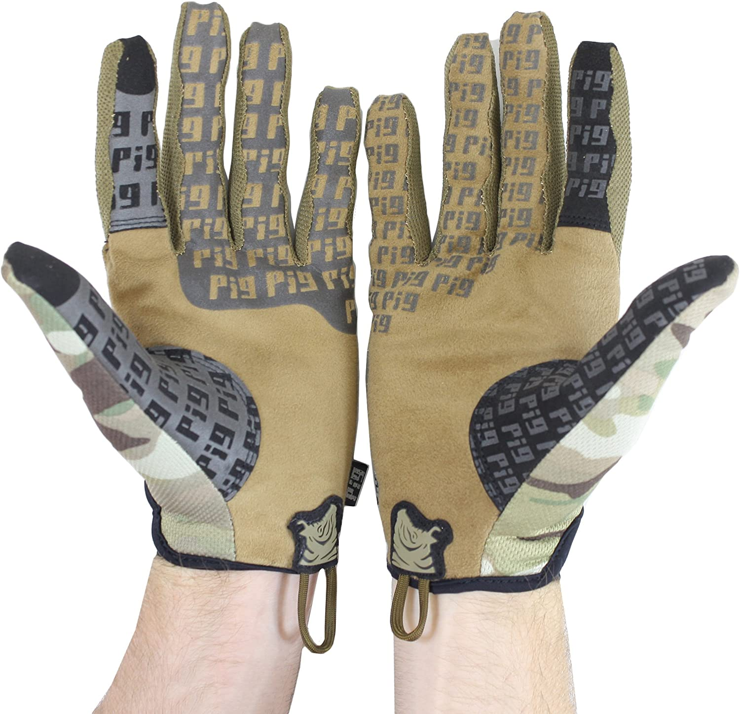 PIG Full Dexterity Tactical Delta Utility Gloves, in coyote brown color and some camouflage on the front part.