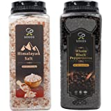 Soeos Himalayan Salt 38.8oz + Whole Black Peppercorns 18oz. Coarse Grain Pink Salt, NON-GMO Verified, Kosher.