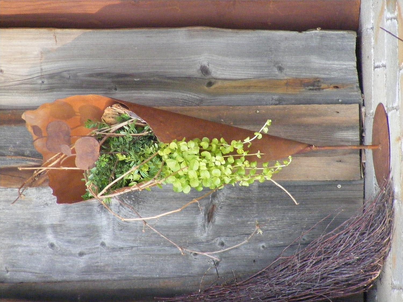 Rostige Metall Pflanzt/üte auf Stab mit Bodenplatte 65 cm Rostikal