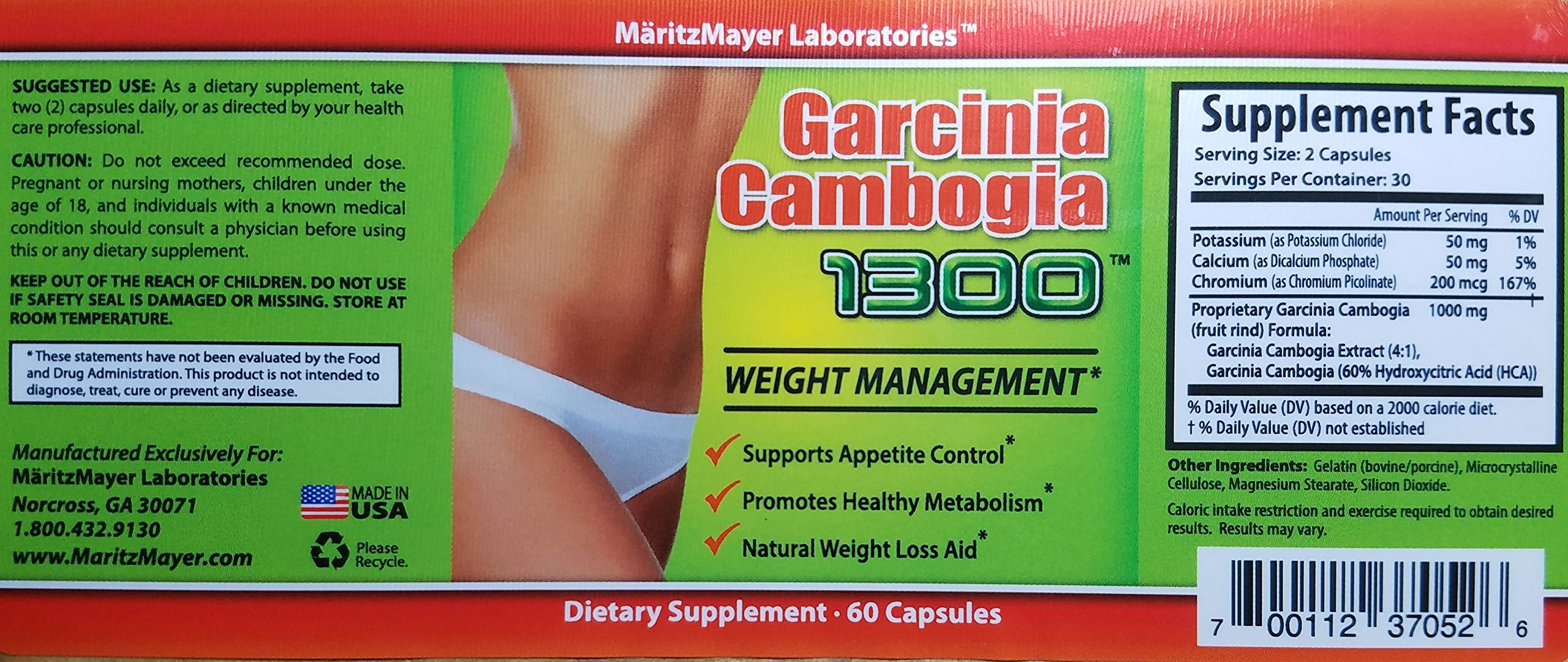 Garcinia Cambogia Extract 1300 60% HCA Weight Management Appetite Suppressant 60 Capsules Per Bottle 50 Bottles by MaritzMayer Laboratories (Image #3)