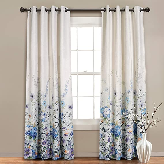 Mysky Home Floral Blackout Curtain 84 Inch Length Grommet Thermal Insulated Room Darkening Curtain Linen Textured Curtain Panel For Bedroom Living Room 52 X 84 Blue Flower Pattern 1 Panel Home Kitchen Amazon Com