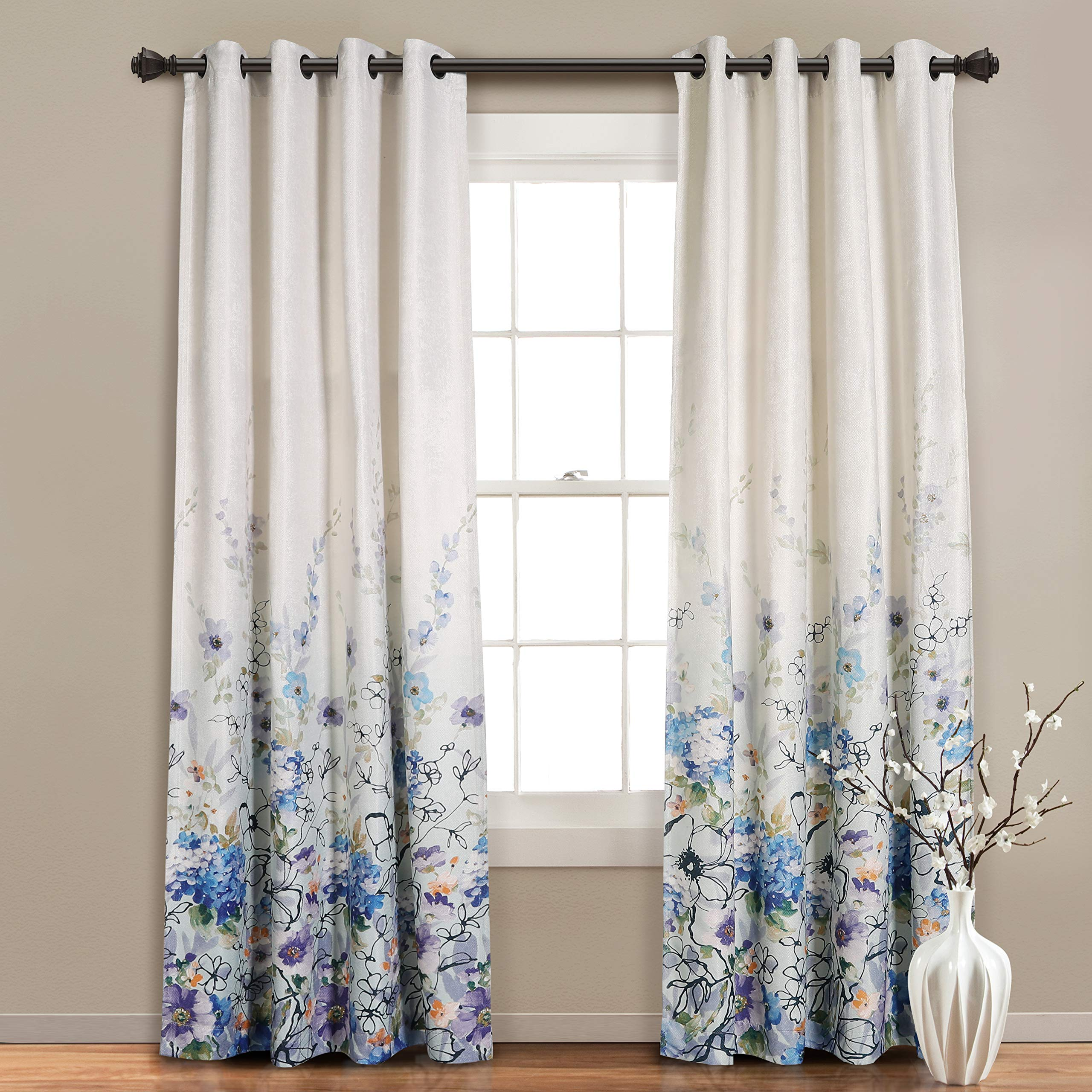 MYSKY HOME Floral Design Print Grommet top Thermal Insulated Faux Linen Room Darkening Curtains, 52 x 95 Inch, Blue, 1 Panel by MYSKY HOME