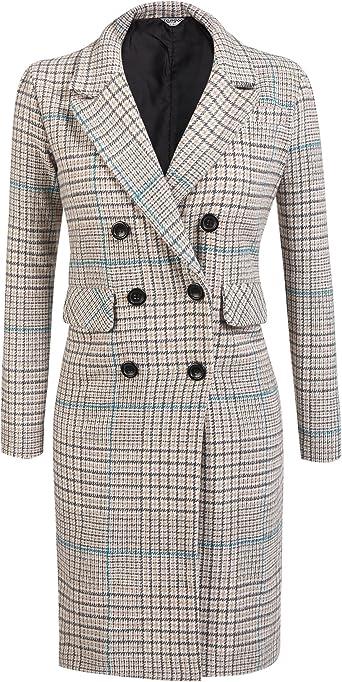Winter Plaid Coat Women Ladies Top Double Breasted Plaid Swing Long Slim Casual Wool Coat Outerwear