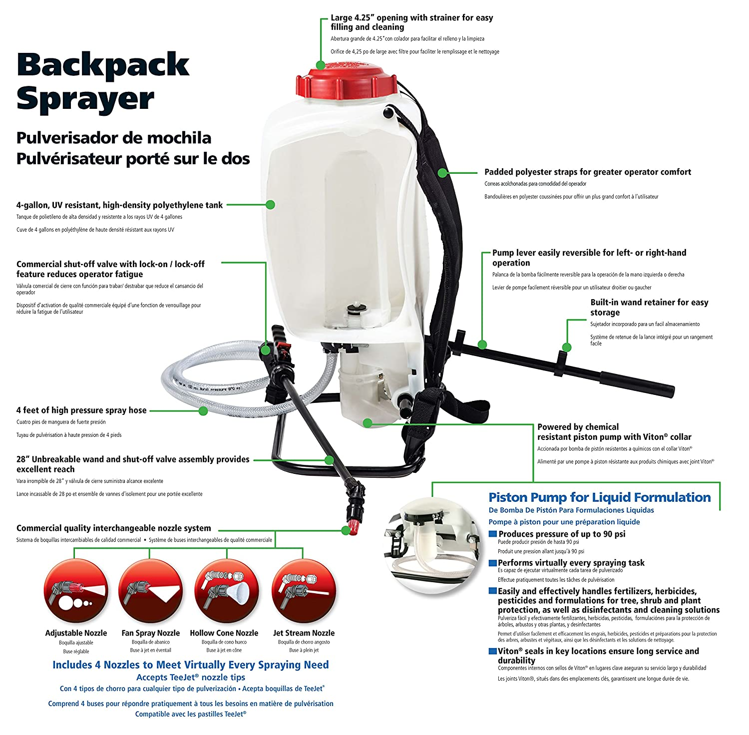 Amazon.com : SOLO 425 4-Gallon Professional Piston Backpack Sprayer, Wide Pressure Range up to 90 psi (Pack of 2) : Garden & Outdoor