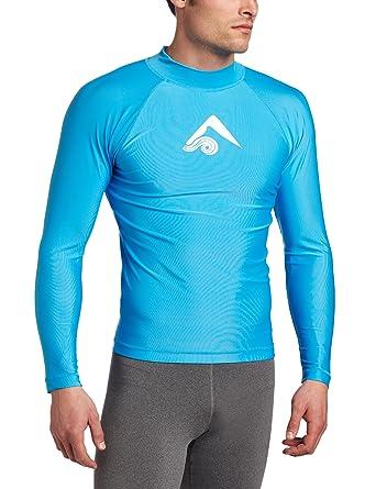 907ded069e8e Kanu Surf Men's Long Sleeve Platinum UPF 50+ Rashguard Swim Tee, Aqua, Small