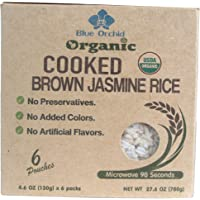 100% USDA Certified Organic - Thai Jasmine Microwavable Cooked Brown Rice - Gluten-free - Vegan Healthy Ready to Eat 6 x 4.6 OZ Pouch (Brown Rice 6 Pouches)