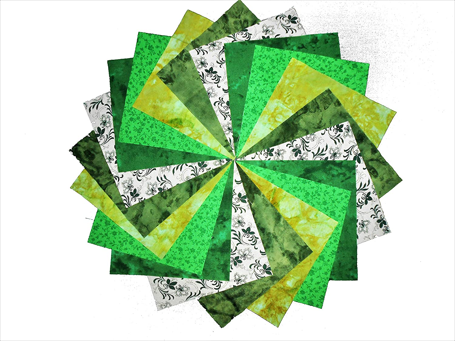40 5 Shades of Green GREENDAY Charm Pack- 5 different patterns- 8 of each Galaxy Fabric