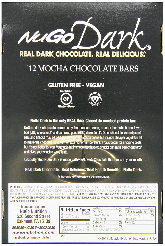 Amazon.com: NuGo Dark Chocolate Mocha, Dairy Free, 1.76-Ounce Bars ...