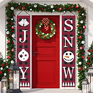 Happy Storm Christmas Decorations Outdoor Joy Snow Porch Sign Banner Christmas Front Door Porch Decor Holiday Xmas Door Hanging Sign for Christmas Home Indoor Outdoor Wall Party Supplies