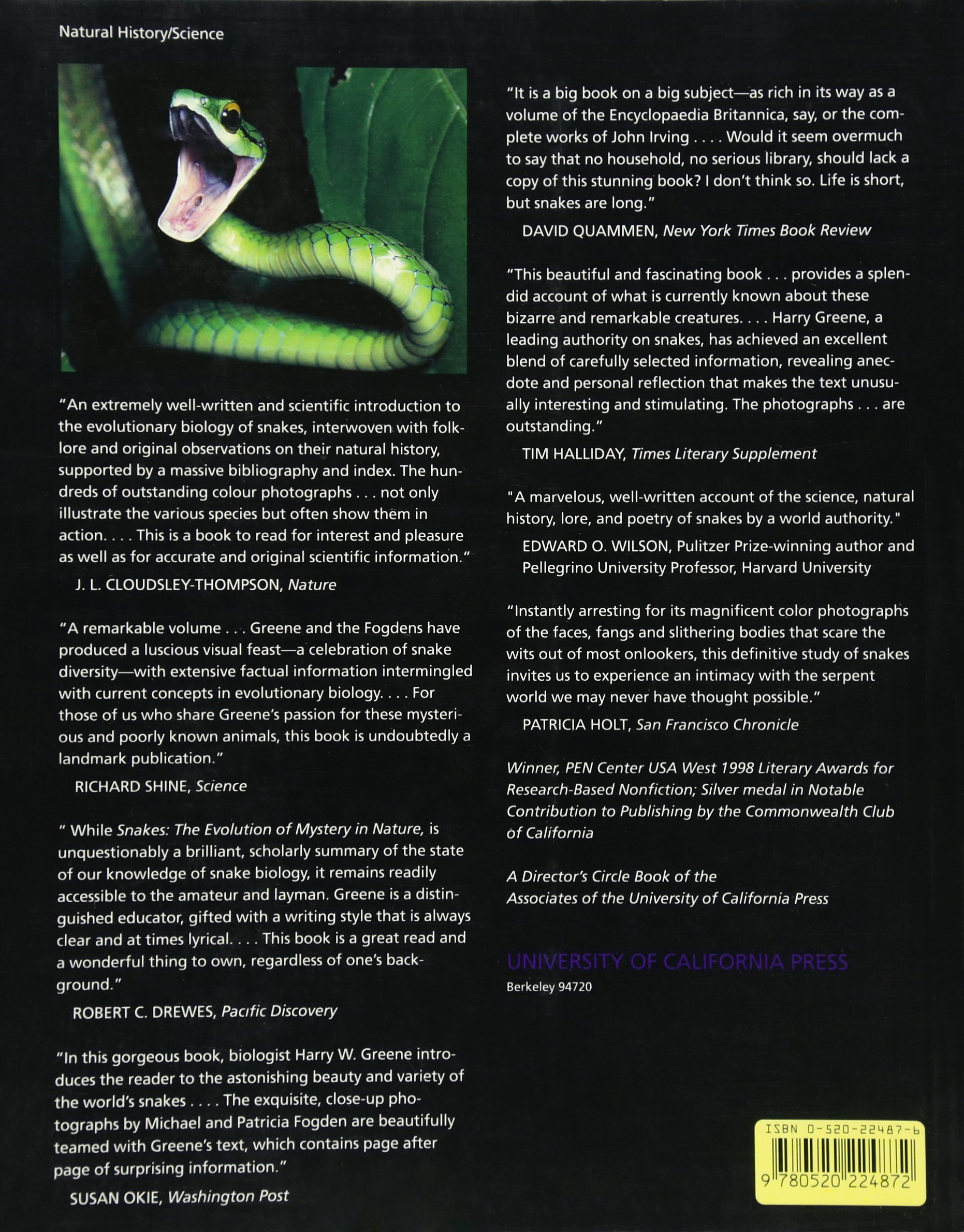 Snakes: The Evolution Of Mystery In Nature: Harry W Greene, Mich�l Fogden,  Patricia Fogden: 9780520224872: Amazon: Books