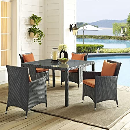 Modway EEI-2243-CHC-TUS-SET Sojourn Wicker Rattan Outdoor Patio Coffee Table, 4 Dining Chairs, Tuscan Orange