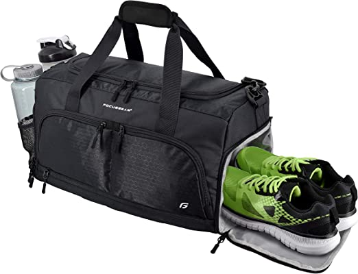 """Ultimate Gym Bag 2.0: The Durable Crowdsource Designed Duffel Bag with 10 Optimal Compartments Including Water Resistant Pouch (Black, Medium (20""""))"""