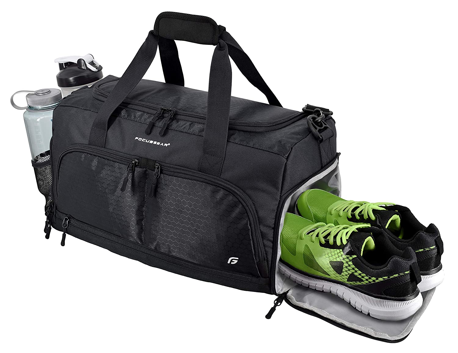 Ultimate Gym Bag 2.0 The Durable Crowdsource Designed Duffel Bag with 10 Optimal Compartments Including Water Resistant Pouch Black, Medium 20