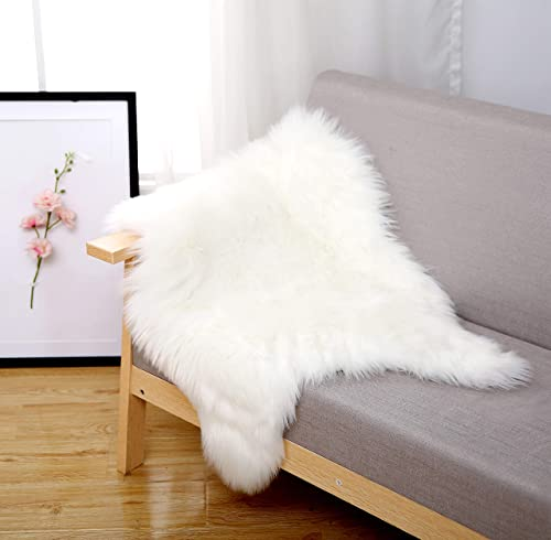 xing moon Faux Fur Rug Faux Sheepskin Area Rug for Kids Room Living Room Bay Window Seat Cushion,2ft 3ft White