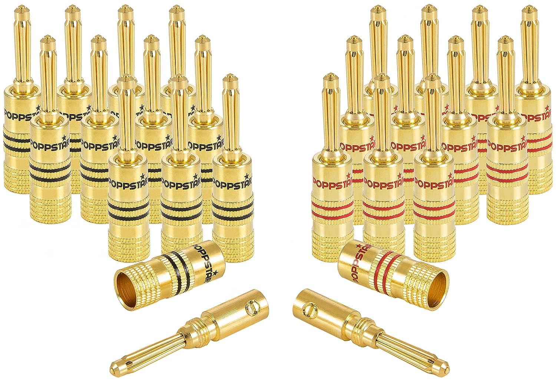 Poppstar, 8 x Connettori a Banana (2 pezzi), per altoparlante (fino a 4 mm² ), ricevitore AV, 24 K, placcato oro (4 x nero, 4 x rosso) 8x Connettori a Banana (2 pezzi) per altoparlante (fino a 4mm²) 24K 1009147