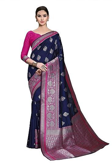 b2c1bb9a50f Soru Fashion Women s Stylish Blue Kanjivaram Art Silk Saree with Blouse  Piece (Cott-780 Dark Blue)  Amazon.in  Clothing   Accessories