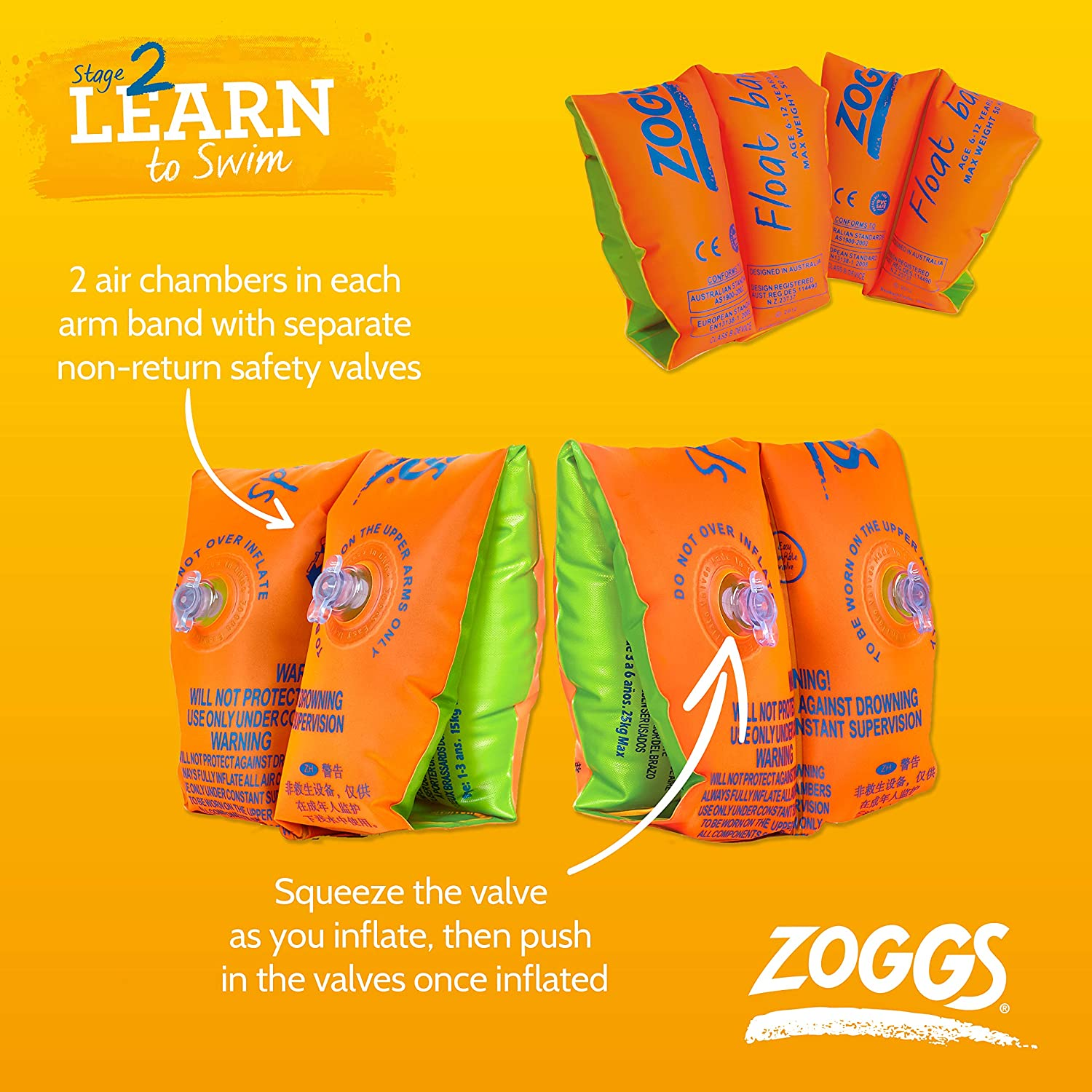 Zoggs Roll Ups Arm Float Bands 1-6 and 6-12 years Easy Inflate Children Kids New