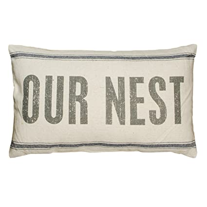 Farmhouse style pillow Vintage Flour Sack Style Pillow, 15.5 x 24.5-Inch, Our Nest