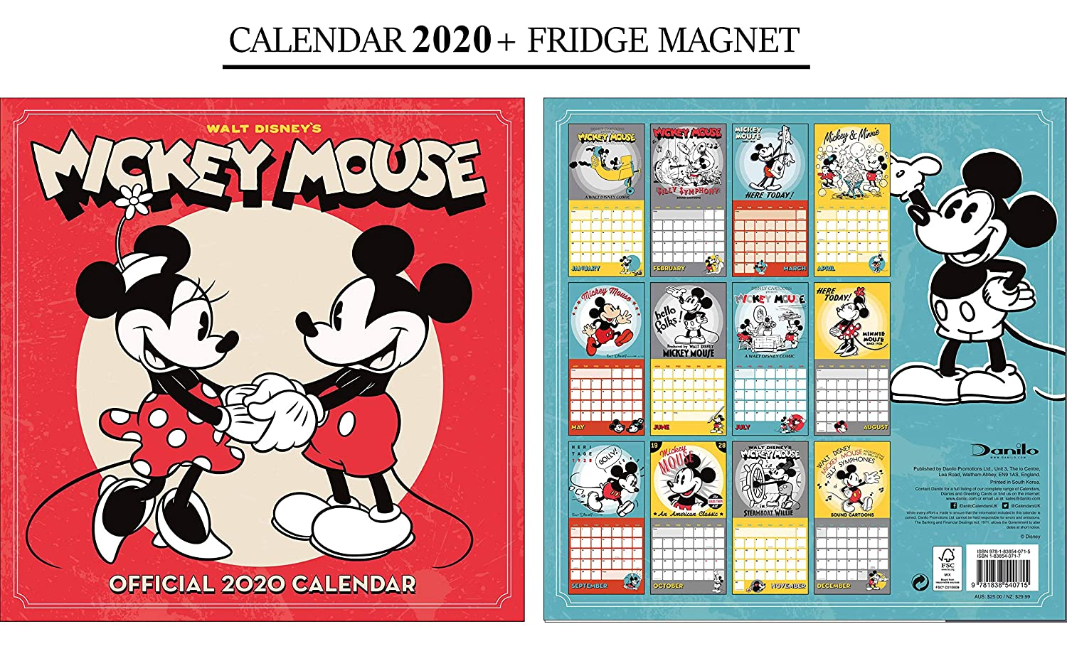 Calendario oficial de Disney Mickey Mouse 2020 + imán de Mickey ...