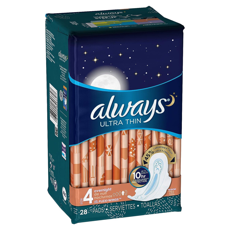 Pads Siempre ultra thin sin aroma con alas de la noche 28 Count (Pack de 2): Amazon.es: Salud y cuidado personal