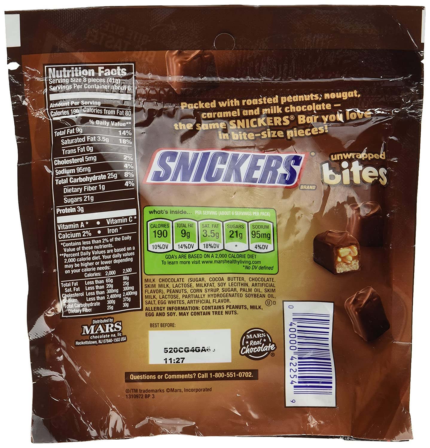 Nutrition Facts Snickers Bite Size   Besto Blog