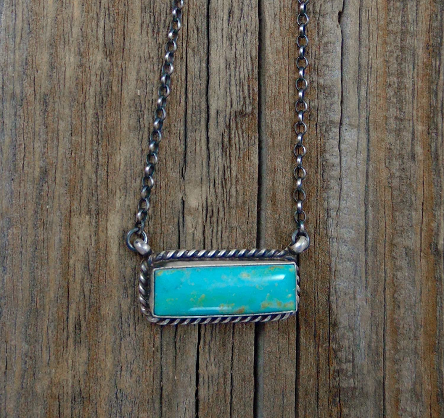 Firebird Jewelers Navajo Turquoise Silver Bar Necklace
