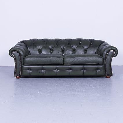Amazon Com Chesterfield Leder Sofa Grun Dreisitzer Couch Echtleder