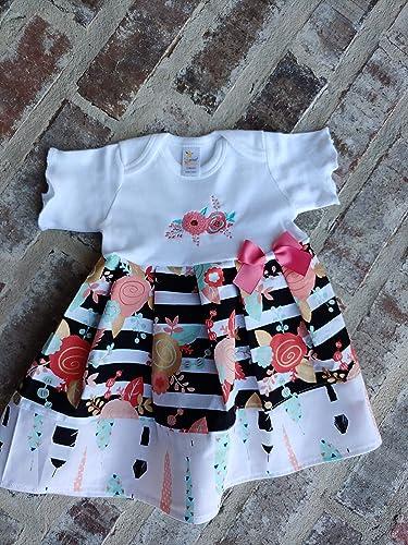 31e196233 Amazon.com  Newborn Baby Girl Coming Home Boho Monogrammed Dress ...
