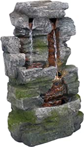 Sunnydaze 14-Inch Towering Cave Waterfall Indoor Tabletop Water Fountain with LED Light - Small Interior Water Feature for Home and Office - Mini Decorative Fountain