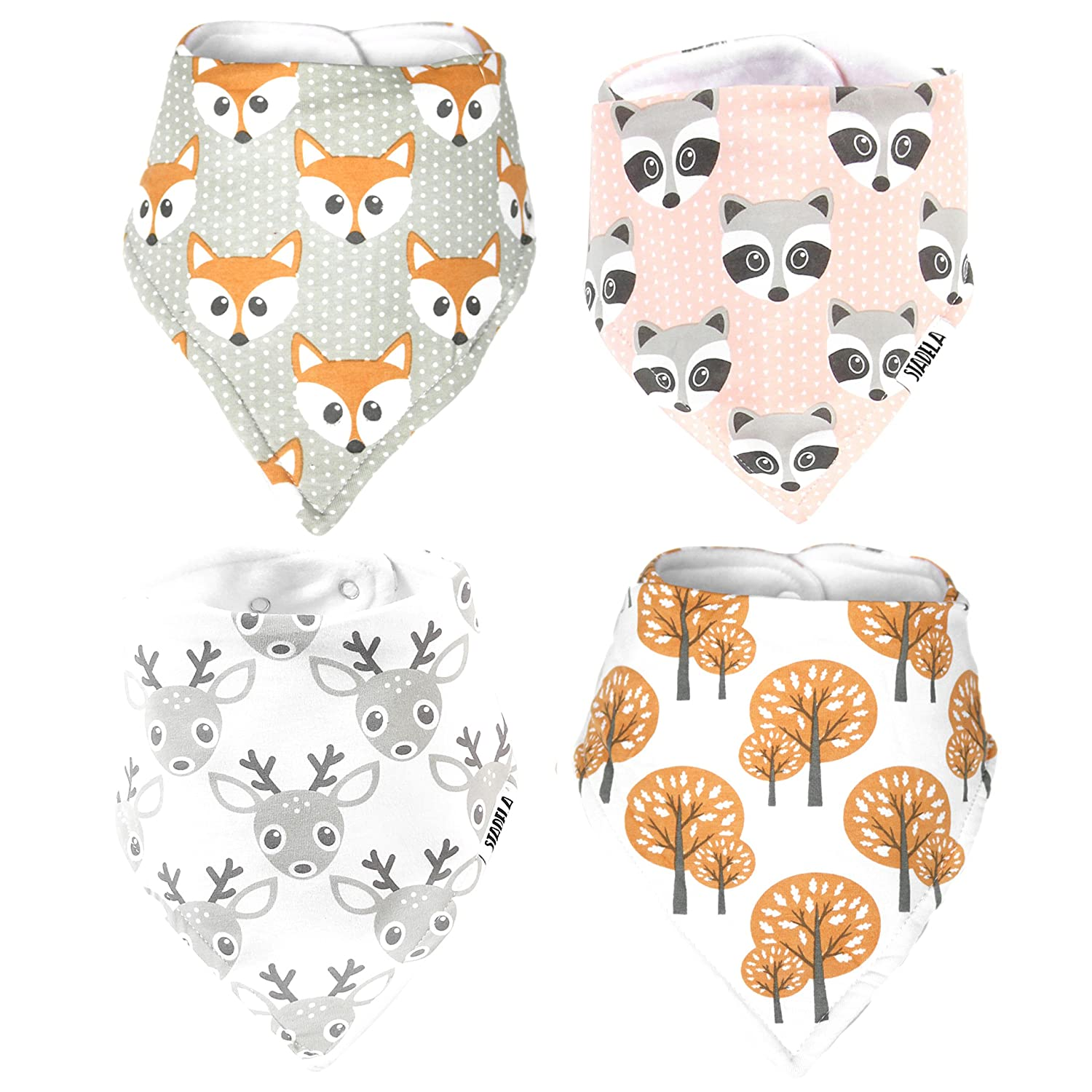 Stadela Baby Adjustable Bandana Drool Bibs for Drooling and Teething Nursery Burp Cloths 4 Pack Unisex Baby Shower Gift Set for Girl and Boy – Woodland Adventure Forest Animal Fox Deer Raccoon Tree