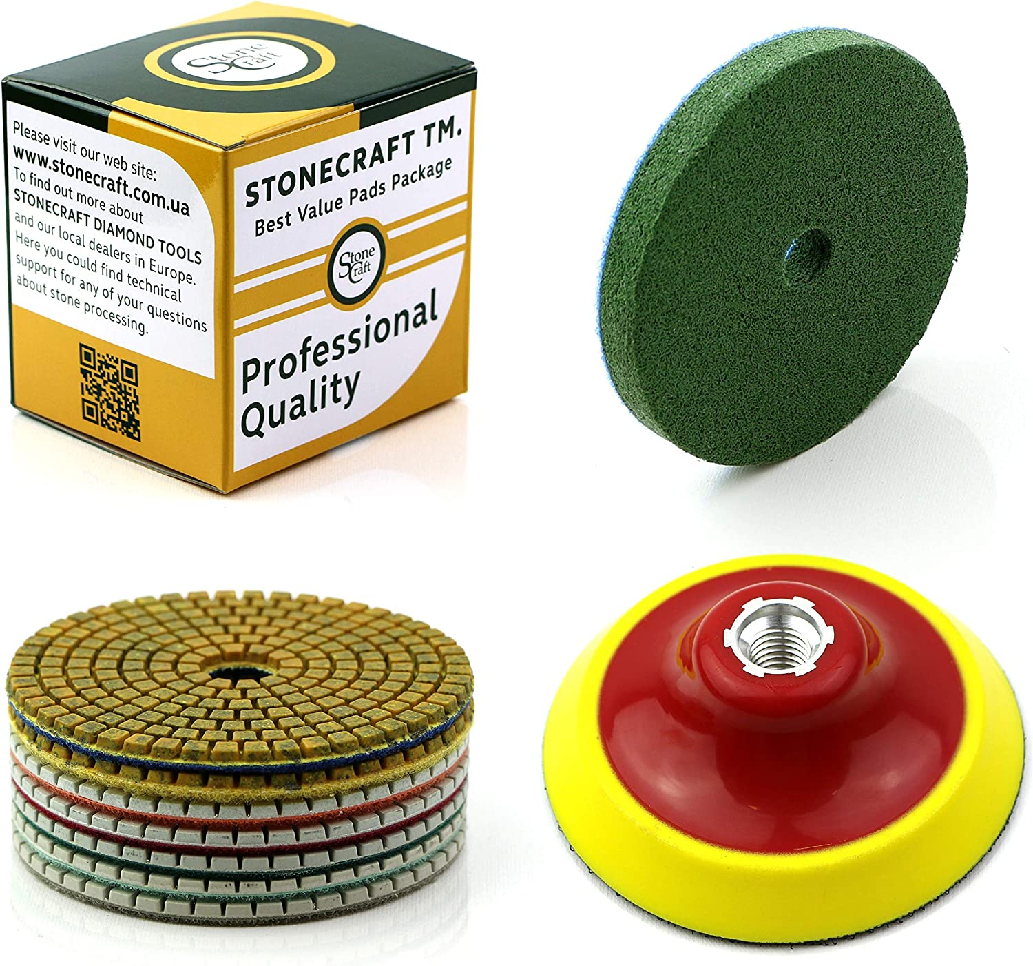 "4/"" 100 mm Diamond Polishing Pad 10+1 Travertine Granite Marble Concrete Glass"