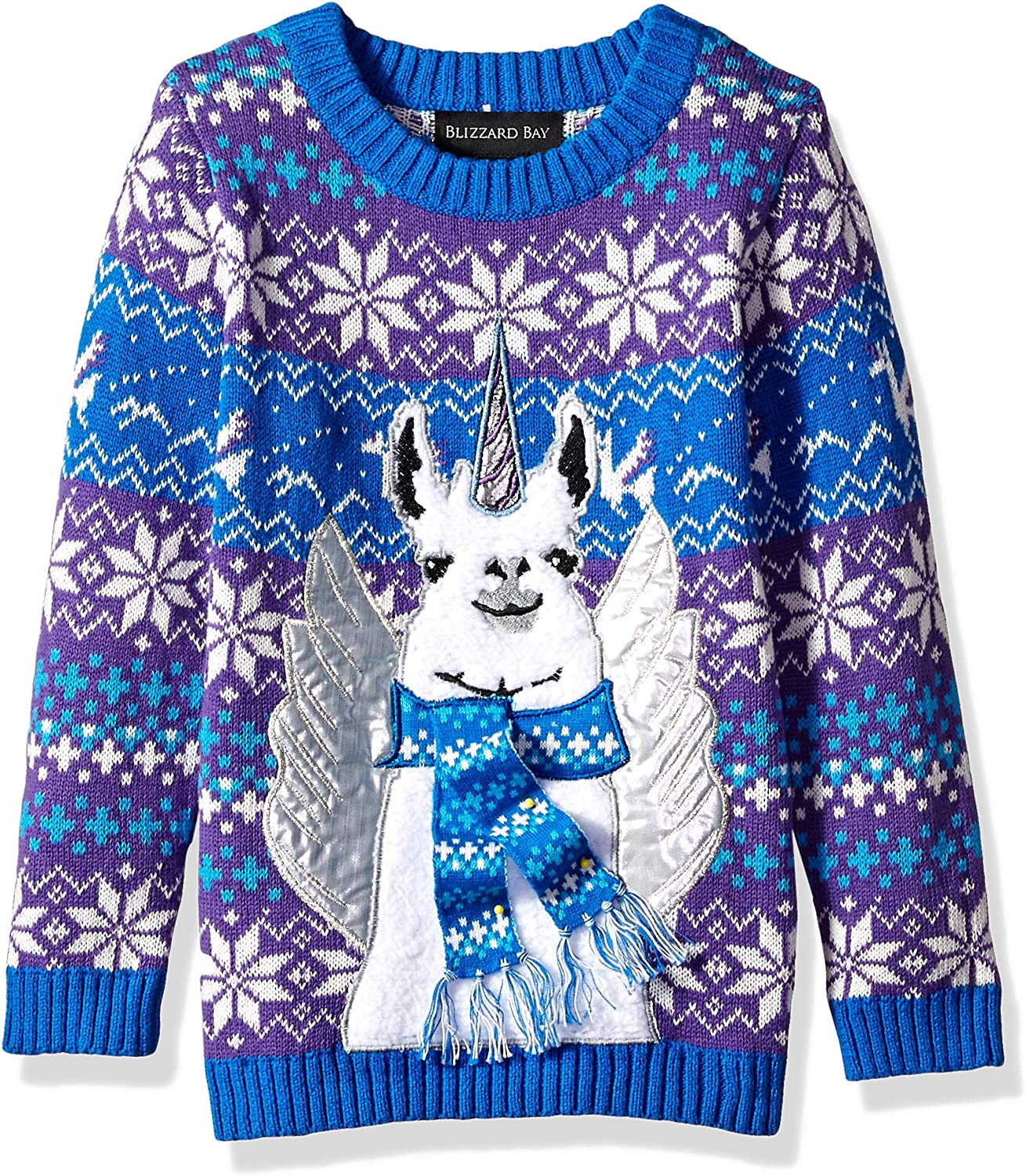 Blizzard Bay Boys Long Sleeve Crew Neck Stars Ugly Christmas Sweater