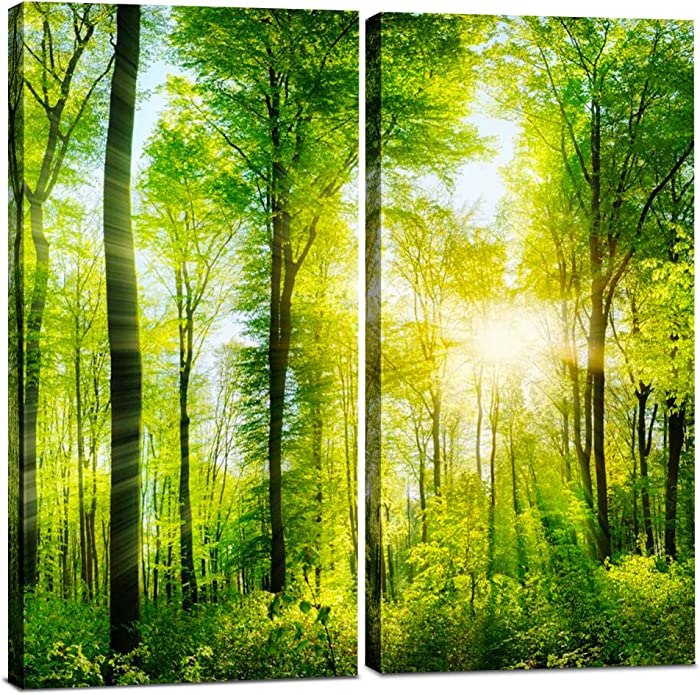 Canvas Wall Art Decor - 12x24 2 Piece Set (Total 24x24 inch) - Forest Tree Landscape - Decorative & Modern Multi Panel Split Canvas Prints for Dining & Living Room, Kitchen, Bathroom, Bedroom & Office