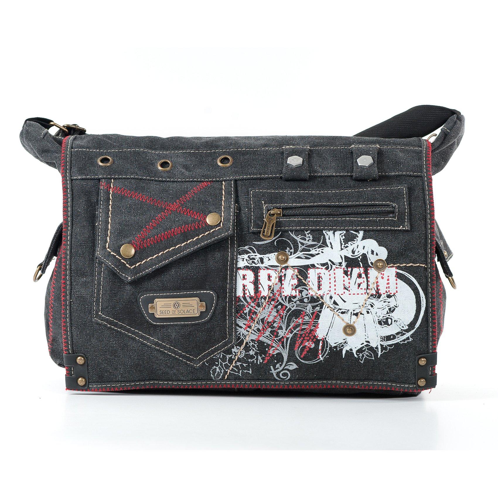 SOS Black Jeans Messenger Bag For School, Multifunctional Canvas Shoulder Bag for Work, Students, and Messenger Cross Shoulder Diaper Bag for Moms and Dadsl - Nocturnal