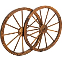 Amazoncom 36 In Steel Rimmed Wooden Wagon Wheels Decorative