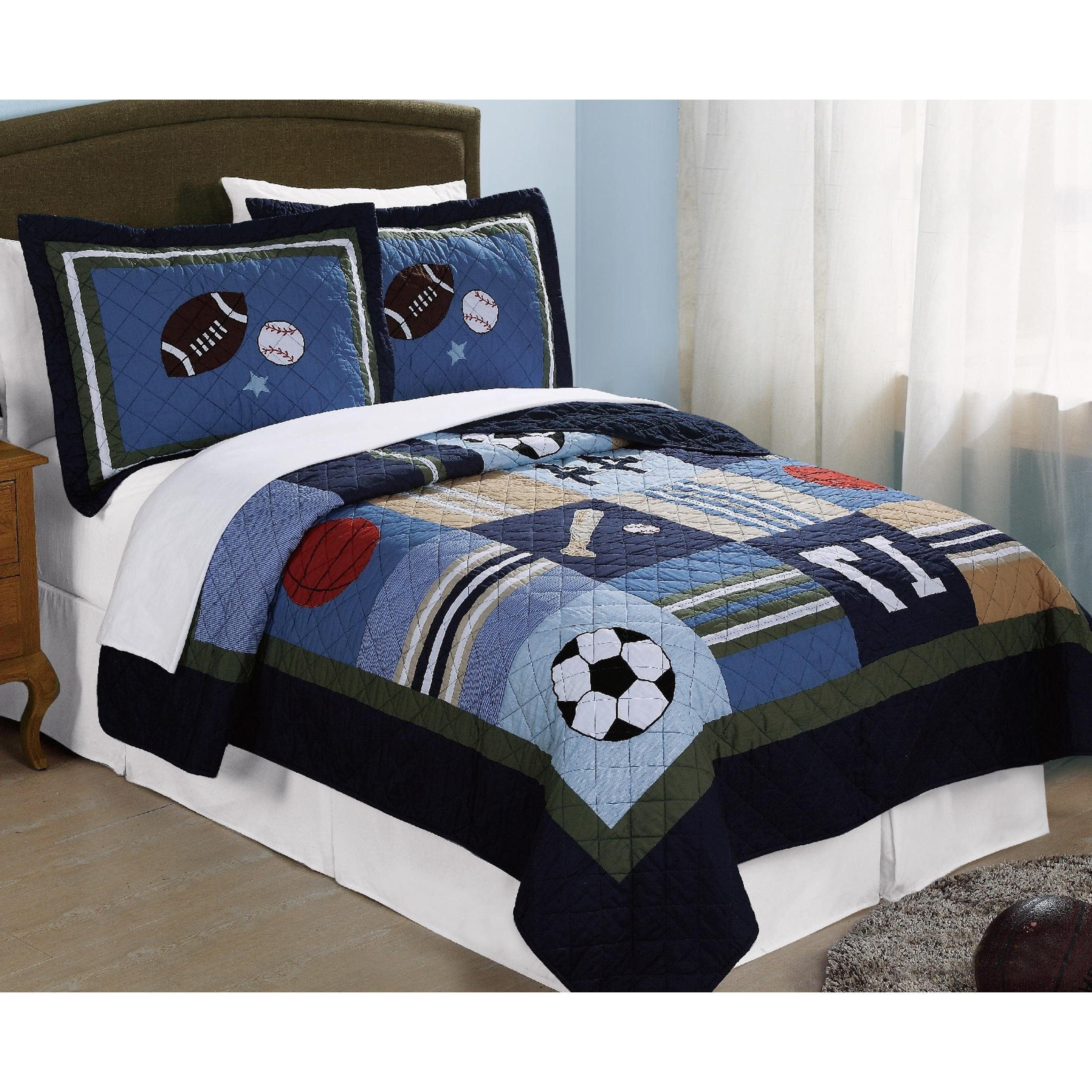 3 Piece Kids Full Queen Size Blue Sport Theme Patchwork Quilt, Grey Red White Basketball Soccer Baseball Football Stars, Active Activity Squares Horizontal Stripes, Sports, Cotton