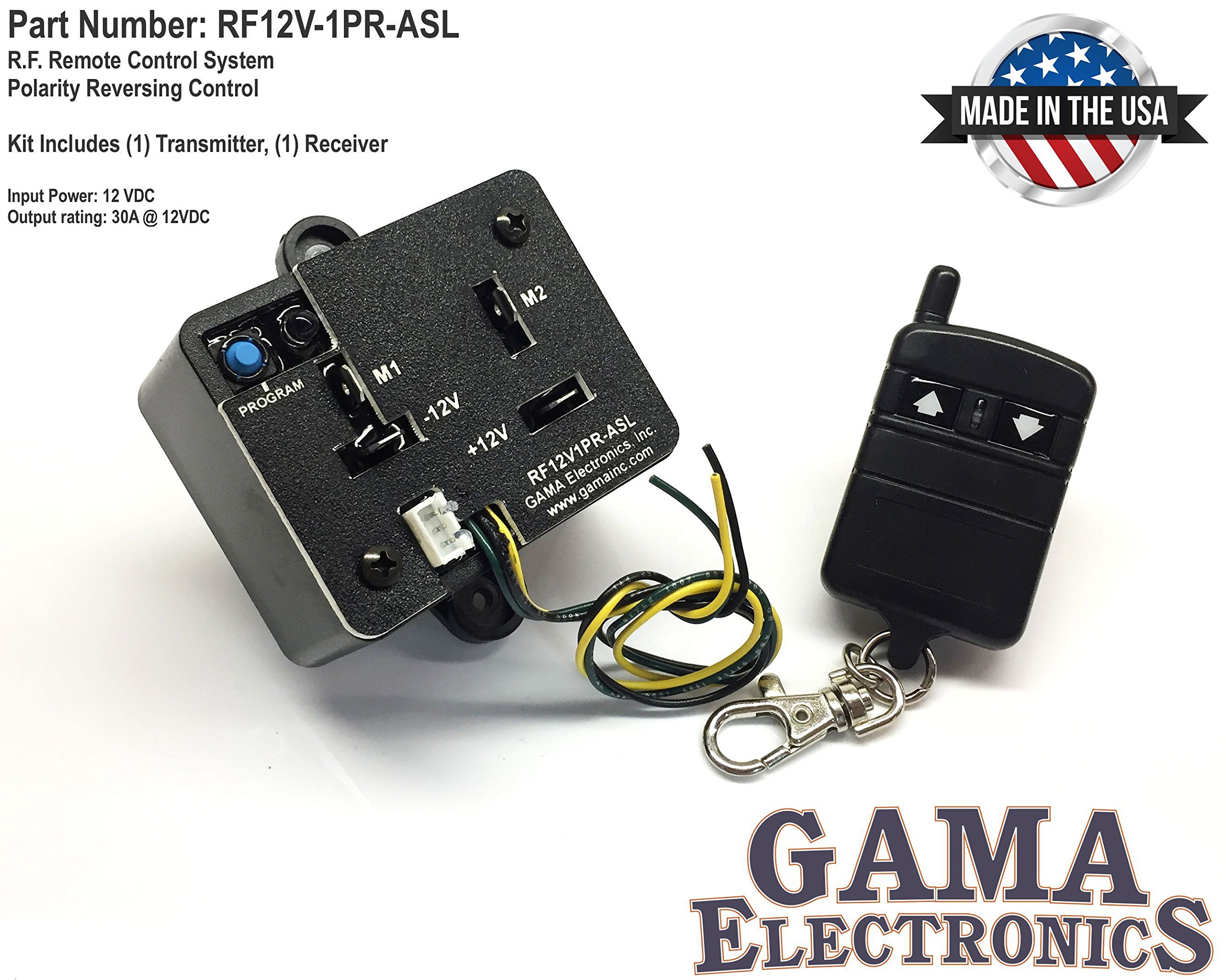 GAMA Electronics RF Remote Control Reverse Polarity 12VDC Motor Control with Auxiliary Switch Input by GAMA Electronics
