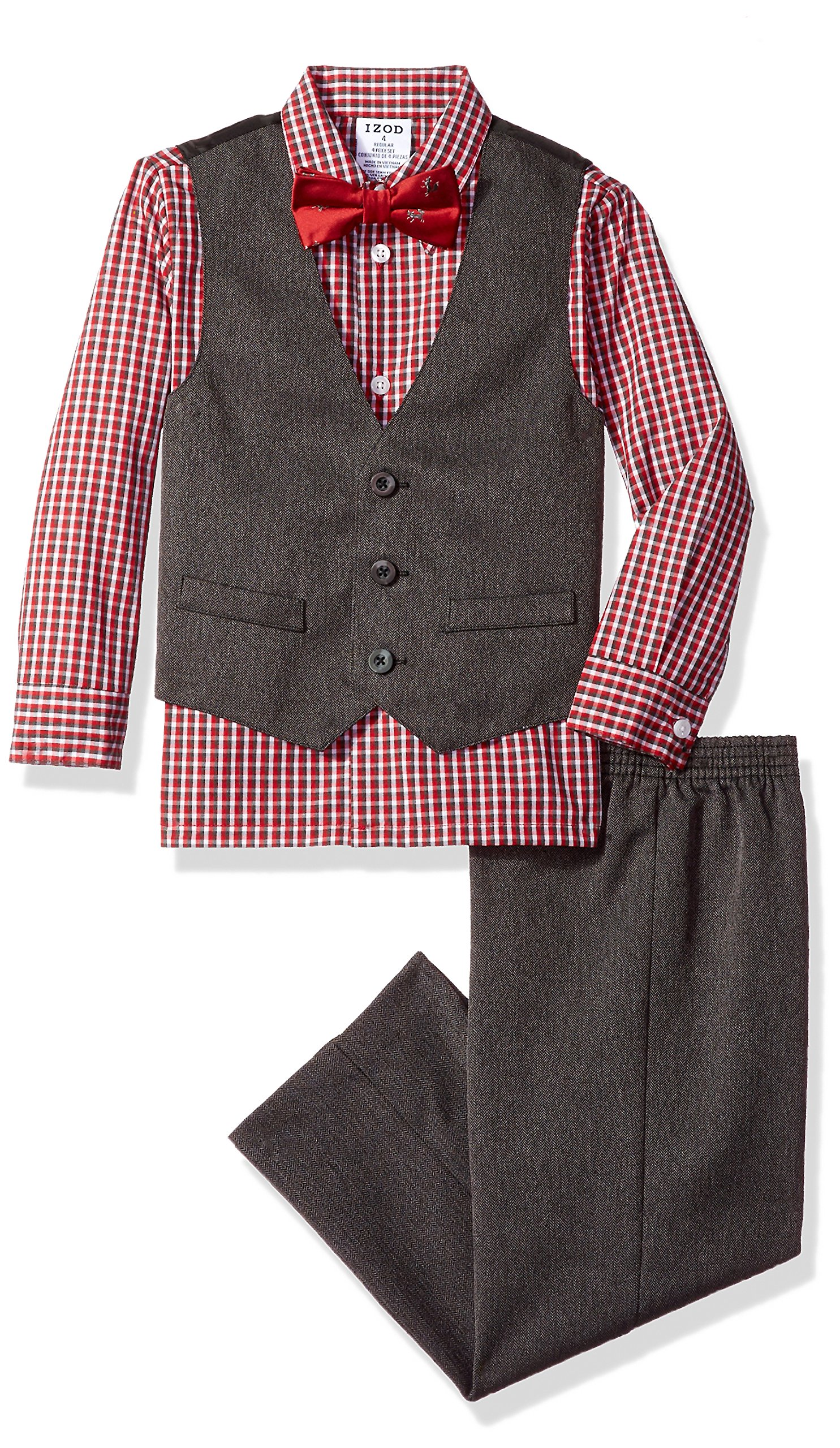 IZOD Toddler Boys' Four Piece Formal Vest Set, Cherry, 4T